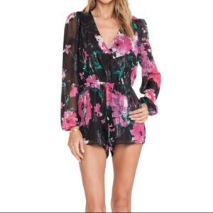 LONG SLEEVE BLACK AND PINK FLORAL ROMPER